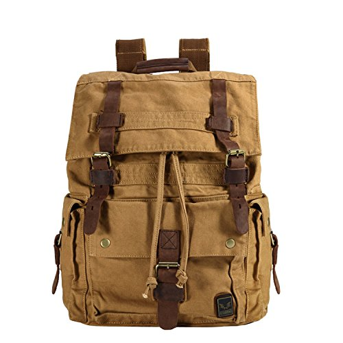 DesertWolf Large Retro Canvas Leather Laptop Backpack – Vintage Casual Travel Hiking Rucksack – Uniex School College Daypack – Fit 19″ Laptop