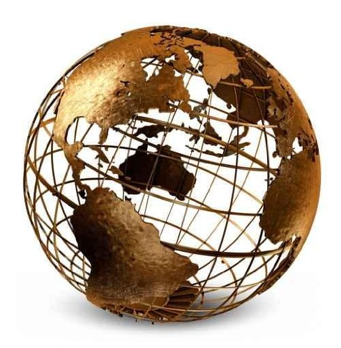 Content Wall Decals 3D Art of Brass Wire Globe - 18 inches x 18 inches - Peel and Stick Removable Graphic