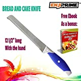 "ENJI PRIME Cake and Bread Knife Stainless Steel Knife with Serrated, Non stick Blade 8"" with blue and gray handle, 12-1/2"" long"