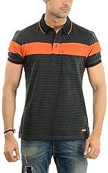 Lead & Ride Men's Polo Neck T-Shirt (320 blackstriper_large, Black , Large)