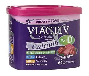 Viactiv Calcium Plus Vit D+K Soft Chews , Raspberry, 60 ct