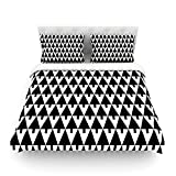 "Kess InHouse Gabriela Fuente ""Happy X-Mas Black and White"" Geometric Monotone Cotton Duvet Cover, 88 by 104-Inch"