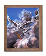 Pegasus Magical Flight Kids Room Fantasy Home Decor Wall Picture Oak Framed Art Print