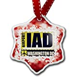 Christmas Ornament Airportcode IAD Washington DC, red - Neonblond