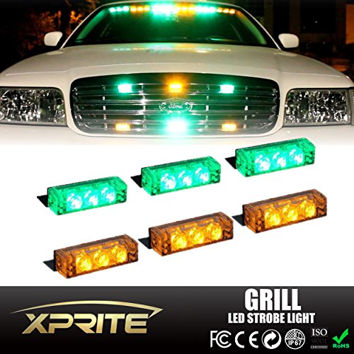 Xprite 18 LED Emergency Vehicle Strobe Warning Lights/Lightbars For Deck Dash Grill Windshield Headliner (Green & Yellow/Amber) (Headliner Lights compare prices)