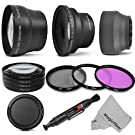 58MM Starter Accessory Kit for CANON EOS REBEL - Includes: 0.43x Wide Angle & 2.2x Telephoto High Definition Lenses + Vivitar Filter Kit + Vivitar Macro Close-Up Set + Collapsible Lens Hood + Snap On Lens Cap + Lens Cleaning Pen + MagicFiber Microfiber Cleaning Cloth