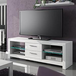 TV Lowboard Kommode Unterschrank weiß hochglanz mit LED Beleuchtung ...