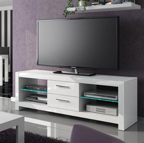 TV Lowboard Kommode Unterschrank weiß hochglanz mit LED Beleuchtung