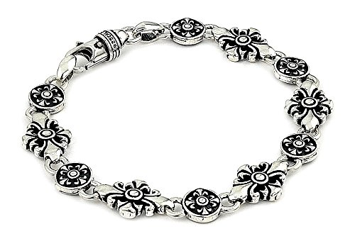 Twisted Blade Large Fleur De Lis Cross Link Bracelet 9""