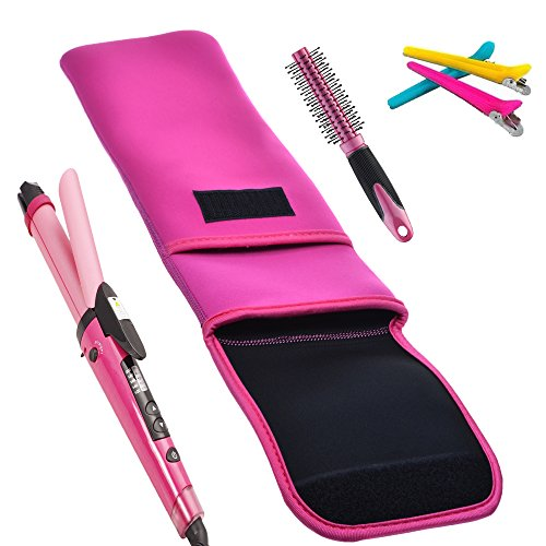 bcp hot pink color water resistant neoprene curling iron holder flat iron curling wand travel. Black Bedroom Furniture Sets. Home Design Ideas