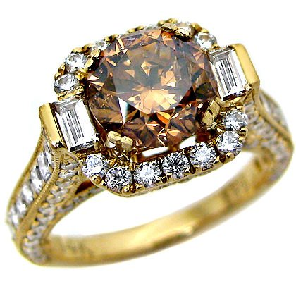 3.53ct Round Chocolate Brown Diamond Engagement