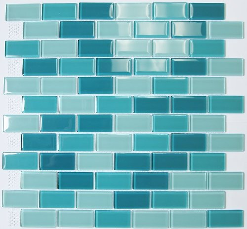 Daily Update Interior House Design: Glass Mosaic Tile Subway Off Set Teal For Two