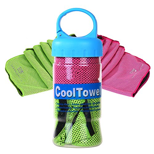Cooling Towel, E LV Set of 2 Personal Cooling Towels Reusable Sweat-Absorbent Towel for Instant Releaf super soft Breathable For Workout, Fitness, Running & Other Sports (HOT PINK/GREEN)