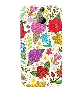 Clipart Floral Design 3D Hard Polycarbonate Designer Back Case Cover for HTC One M8 :: HTC M8 :: HTC One M 8