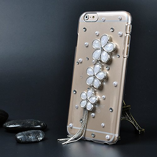 For Iphone 6 Plus Case,Ic Iclover Perfect-Fit Iphone 6 Plus 5.5 Case, 3D Crystal Rhinestone Diamond Bling Bumper Skin Case Glitter Hard Case Cover For 5.5 Inch Iphone 6 Plus Protect Case-Flower