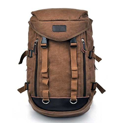 Men'S Big Canvas Casual All Cotton Travelling Bag Backpacks Travel Bag 14' Notebook Pocket Coffe