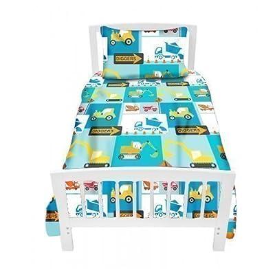 Ready Steady Bed Children's Single Bed Size Construction Print Duvet Cover Set. Size: 135cm x 200cm