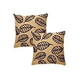 Rajrang Brown Jute Embroidered Cushion Cover Set Of 2 Pcs #Ccs05901