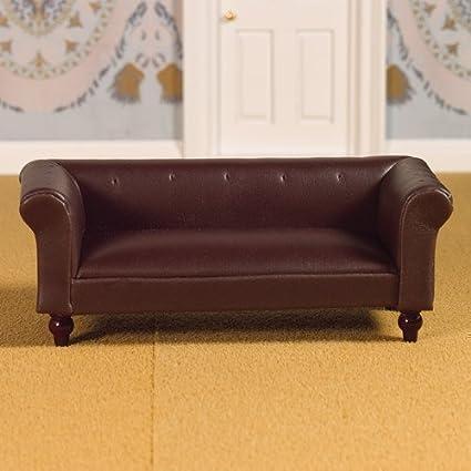 Dolls House 3957 Sofa en cuir brun Sofa 1:12 pour maison de poupée
