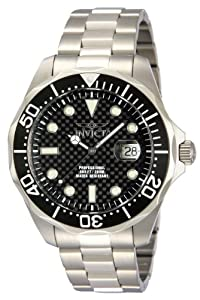Invicta Pro Diver Men's Quartz Watch with Black Dial Chronograph Display on Silver Stainless Steel Bracelet 12562