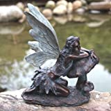 Napco 16-1/2-Inch Tall Bronze Fairy on Mushroom