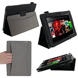 rooCASE Dual Station (Black) Folio Case Cover for Amazon Kindle Fire HD 8.9 Inch Tablet - Auto Sleep and Wake (NOT Compatible with Fire HD 7-Inch)