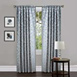 Lush Decor Orbit Window Treatment Curtain Panel, 38 by 84-Inch, Blue, Set of 2