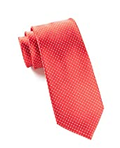 100% Woven Silk Red Pindot Tie