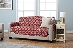 Home Fashion Designs Adalyn Collection Printed Stain Resistant Furniture Protector Sofa, Burgundy