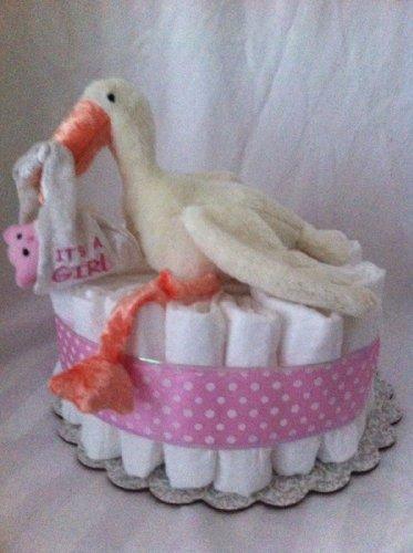 Girl Stork Mini Diaper Cake - Baby Shower Gift Or Centerpeice