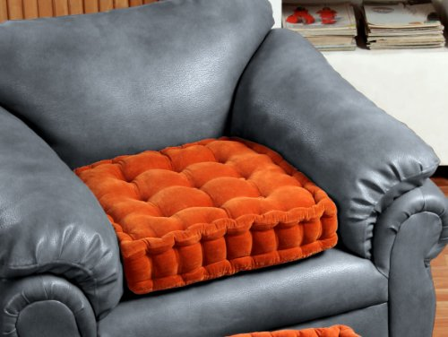 Homescapes - Arm Chair Booster Cushion - TERRACOTTA - 100% Cotton Velvet Fabric and supportive cotton Comfort Enhancer filling