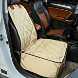iCode Dog Car Seat Cover with Waterproof Non Slip Durable Material for All Cars, Trucks & SUVs- Khaki (Luxury Series, Bucket Seat)