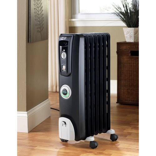 B002PLQ4T8 DeLonghi EW7707CB Safeheat 1500W ComforTemp Portable Oil-Filled Radiator – Black