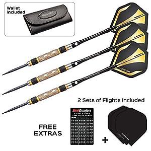 Red Dragon Golden Eyes 1: 24g - 85% Tungsten Darts (Steel Dartpfeile) mit Flights, Schäfte, Brieftasche & FREE Red Dragon Checkout Card
