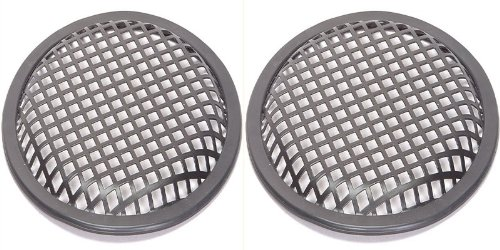 "15"" Speaker Grills - 1 Pair - Black Metal Waffle Grills Includes Mounting Brackets (15 Inch)"