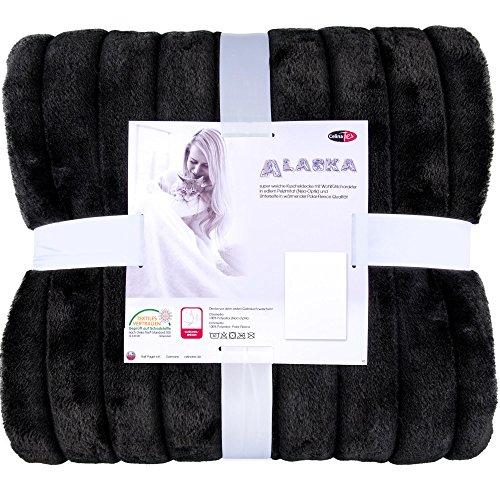 Elegante-Kuscheldecke-Fellimitat-2-Gren-verschiedene-Farben-XXL-Decke-200-x-240-cm-Felldecke-Wohndecke-Webpelzdecke-CelinaTex-5000007-Alaska-XXL-schwarz