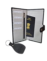 Festive Season Special-Style98 Black Traveller Genuine Leather Credit Card Holder And Passport Holder Cum Organiser...