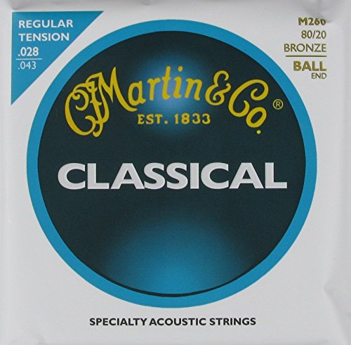 C.F. Martin Classical Guitar Bronze Wound Ball End Regular, .028 - .043, M-260 (Cf Martin Strings compare prices)
