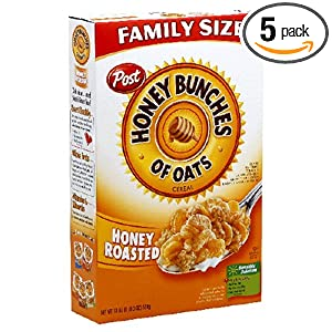 Amazon - 5 packs of Post Honey Bunches of Oats - $8.35