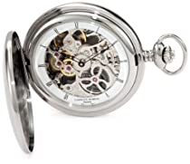 Charles-Hubert, Paris 3905-W Premium Collection Stainless Steel Polished Finish Hunter Case Mechanical Pocket Watch