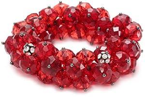 "Nine West ""SCARLET SNOWFLAKE"" Hematite-Tone Red Crystal Shaky Stretch Bracelet"