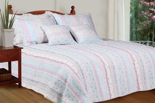 [Flowering Season - Lilac] 100% Cotton 2PC Classic Floral Vermicelli-Quilted Quilt Set (Twin Size)