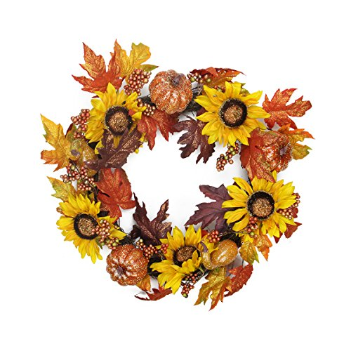 "22"" Harvest Sunflower and Pumpkin Artificial Thanksgiving Wreath - Unlit"