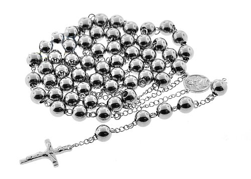 Polished Stainless Steel Mens Jumbo Rosary Chain 44 Inches 10MM Beads