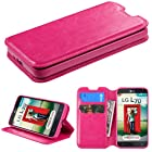 Fit LG Optimus L70 / LG Exceed 2 / LG Realm Wallet Pouch Dual-Use Flip PU Leather Case Cover w/ Folio Stand ID Credit Card / Cash slots and Inner Pocket + Free Clear LCD Screen Protector Guard Shield+ Stylus Pen Touch Screen (Polka/red TPU wallet)