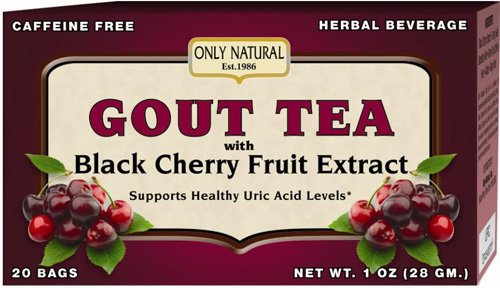 Only Natural Gout Tea - Black Cherry Fruit Extract - 20 Bags -Assist in maintaining healthy uric acid levels and over all well being (Extracts Cherry compare prices)