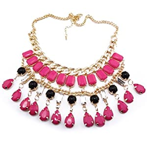 Fashion Ladies Bubble Resin Square Drop Tassel Golden Choker Necklace(wiipu-A115) (pink)