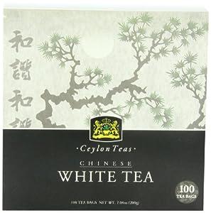 Ceylon Tea, Organic Chinese White Tea Mementa , 100 Count Tea Bags