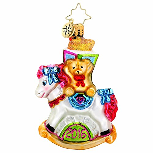 Christopher Radko 2016 Rocking New Year Little Gem Rocking Horse Christmas Ornament