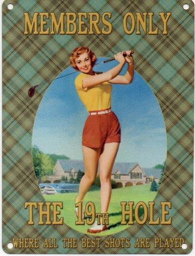 MEMBERS ONLY THE 19TH HOLE Cambsigns-Targa da parete in metallo, 200 mm x 150 mm